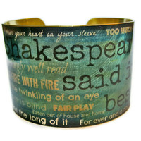 Shakespeare Quotes Phrases brass cuff by UniqueArtPendants on Etsy
