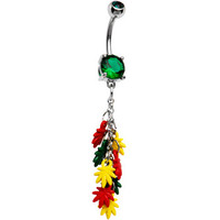 Dangling Rasta Pot Leaf Belly Ring | Body Candy Body Jewelry