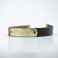 Personalized Hand Stamped Save the Date Bracelet  - Brass Tag Brown Leather Bracelet - Mother&#x27;s Day Gift