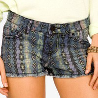Southwestern Denim Shorts | FOREVER 21 - 2000050106