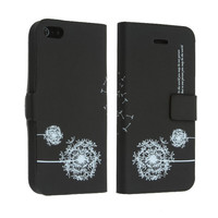 PU Leather Dandelion Wallet Flip Stand Case Skin For iPhone 5 5G
