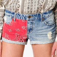 Bandana Print Denim Shorts