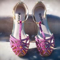 Bumper Zaire-14A Jeweled Cut Out Caged Flat Sandal (Fuchsia) - Shoes 4 U Las Vegas