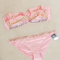 New Victoria's Secret Very Sexy Embellished Bandeau Pink Bikini Swimsuit L M