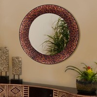 Illuminada - Amber Beaded Circle Mirror (8696) - Mirrors