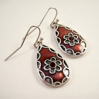 Burgundy and Silver Teardrop Charm Earrings by shopkim