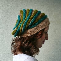 Slouchy beanie hat ecru with turquoise and green by pauliszka