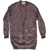 &quot;Mr Rogers Goes Glam&quot; Blingy Ugly Cardigan Sweater Women&#x27;s Size M