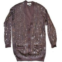 """Mr Rogers Goes Glam"" Blingy Ugly Cardigan Sweater Women's Size M"