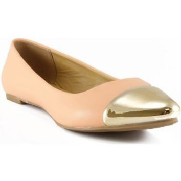 Amazon.com: City Classified Rocker Gold Metal Toe Cap Slip On Classy Pointed Toe Ballet Flat PEACH: Shoes