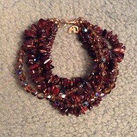 Bloomingdale&#x27;s Bracelet Brand New Brownish Color Beaded With Gold Clasps