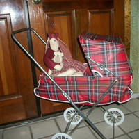 1950s Doll Stroller, Easy Fold Carriage, Red Plaid Vinyl, Metal Frame, White Wheels, Canopy, Baby Doll Buggy,  Toy Pram, Doll Accessory