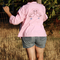 Hand Embroidered Flamingo Blouse in Pink - Upcycle