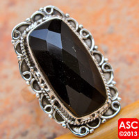 BLACK ONYX 925 STERLING SILVER RING SIZE 7 3/4 JEWELRY