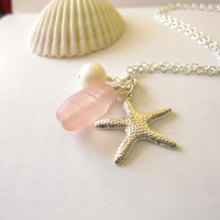 Pink Sea glass starfish necklace with swarovski by SeaglassGallery