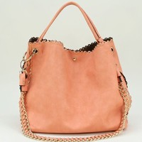 Carley Studded Hobo Bag In Peachy