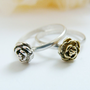 Tiny rose ring set  two stuck rings sterling silver by FoxInTheBox