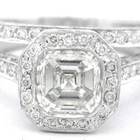 Asscher cut diamond bezel engagement ring and band 245ct by KNRINC