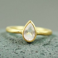 Gold Pear Rose Quartz Ring - gold ring handmade ring gemstone ring