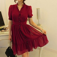 Red Chiffon button pleated short sleeve Dress
