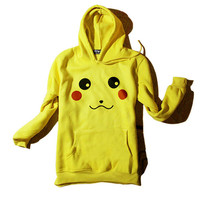 CUTE Pokemon Pikachu Yellow Top Casual Hoodie Coat Cosplay Costume