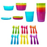 Amazon.com: Ikea 36 Pcs Kalas Kids Plastic BPA Free Flatware, Bowl, Plate, Tumbler Set, Colorful: Baby
