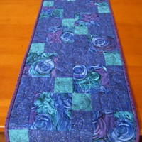 Patchwork Table Runner, Quilted Blue Runner