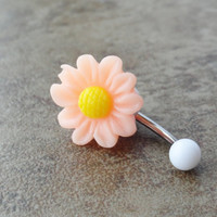 Peach Daisy Flower Belly Button Jewelry Chrysanthemum