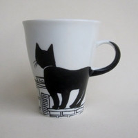 Black Cat on rooftop   Handpainted Porcelain  by houseofharriet