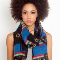 Taos Fringe Scarf - Blue in Sale at Nasty Gal