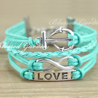 bracelet, anchor bracelet, mint bracelet, infinity bracelet,anchor bracelet, love bracelet, infinity, bridesmaid, friendship gift