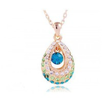 Blue Teardrop Swarovski Crystal With Diamond Pendant Gold Gilded Necklace