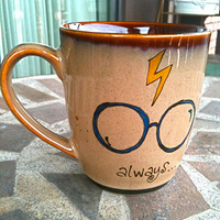 Small Antique Brown &quot;Always&quot; Harry Potter Owl Mug - Hand Painted