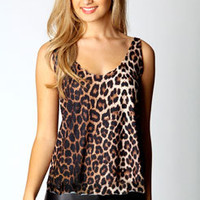 Una Leopard Print Scallop Vest