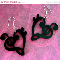 BOGO Blowout Sale Musical Heart STATEment Earrings, Shiny Black Acrylic