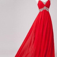 Sweetheart Straps Chiffon satin bridesmaid Prom Evening Homecoming Dress