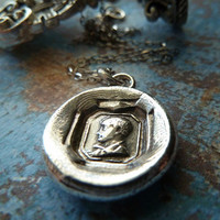 Lord Byron Wax Seal Necklace. Antique Style Wax Seal Jewelry in Fine Silver