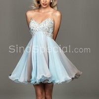 Sweet A-line Sweetheart Applique Mini Chiffon Prom Dress-sinospecial.com