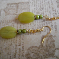 African Jade Earrings Copper Olive Rustic Green Freshwater Pearl Gold Beaded Jewelry