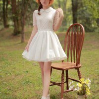 Bqueen Elegant White Lace Dress YE029B