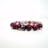 purple agate bracelet stretch gemstone bracelet wine by BeaKez