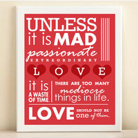 Valentine's Day Print Typography Mad Passionate by PlayOnWordsArt