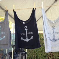 Be Wild and Free Anchor Tank Top - light GREY With Dark BLUE Writing - Women&#x27;s Medium