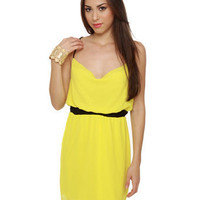 Cute Yellow Dress - Bright Dress - Cowl Neck Dress$40.00