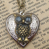 Steampunk  Owl Locket Necklace d Vintage Style by sallydesign