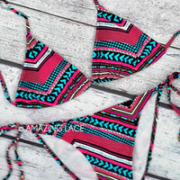 Forever Aztec Bikini Tribal Neon Teal &amp; Pink