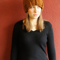 Toffee SuperChunky Hat - winter hat - chunky crochet - crochet hat - wool hat