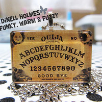 CLEARANCE SALE Ouija Board Glass Tile Pendant  Large Handmade Halloween Wicca Spiritual Jewelry