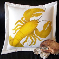Lobster pillow coastal nautical rare yellow golden by crabbychris