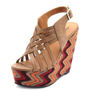 Charlotte Russe - X-Front Zigzag Fabric Wedge